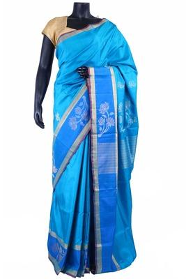 Light blue silk saree in gold with blue border & blue pallu - SR5163
