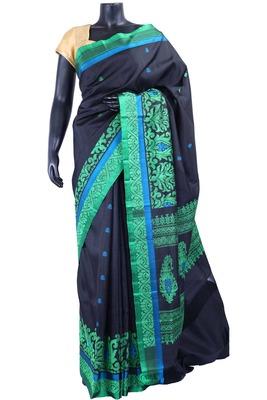 Black silk Jaquard Butta saree in green with blue border & black pallu - SR5174