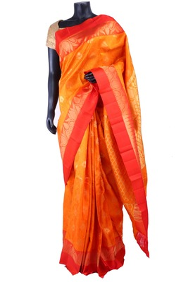Orange silk zari butta saree with mustard pallu & red border - SR5187
