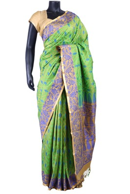 Green silk Jaquard Butta worked saree in mustard with blue border - SR5188