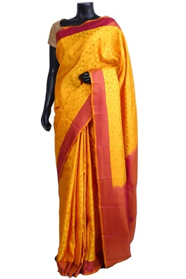 Yellow silk Jaquard Woven saree with maroon pallu & border - SR5194