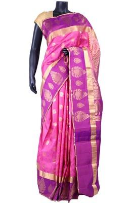 Pink silk zari butta worked saree with purple zari woven pallu - SR5196