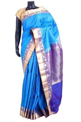 Blue silk Jaquard Butta worked saree with blue zari woven pallu - SR5197