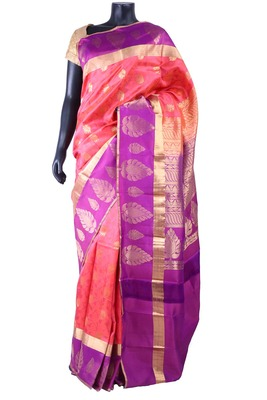 Orange sil zari butta worked saree with purple zari woven pallu - SR5198