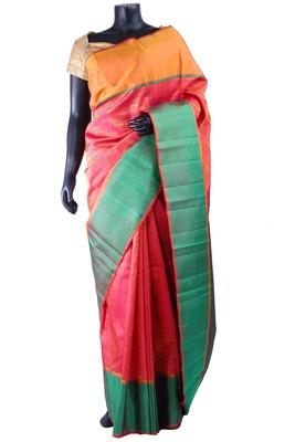 Peachish pink pure silk weaved saree in peacock blue pallu-SR5279