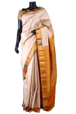 Cream pure silk saree with mustard zari weaved pallu-SR5290