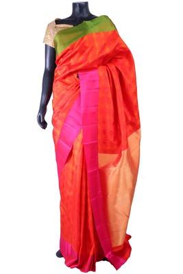 Orange pure silk weaved saree with zari weaved on golden pallu-SR5293