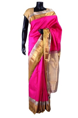 Rani pink pure silk saree with silver zari weaved pallu -SR5300