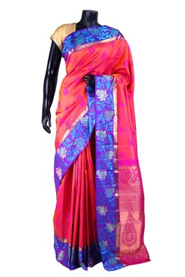 Orangish pink pure silk weaved saree with rani pink pallu-SR5319
