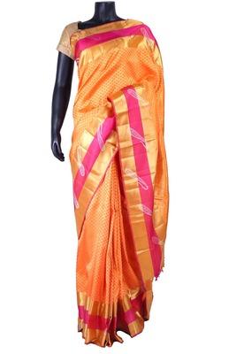Tangerine Weaved Pure Silk Kancheevaram Saree with Mango Motifs-SR5327
