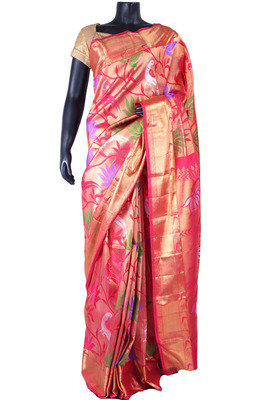 Red pure silk zari weaved saree with golden pallu & border-SR5332