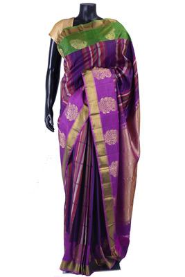 Multi colour pure silk zari weaved saree in purple pallu-SR5334