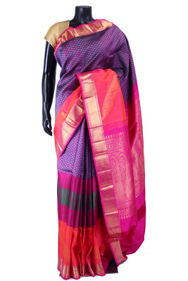 Multi colour pure silk zari weaved saree in golden border -SR5343