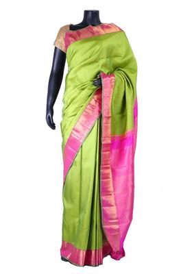 Green pure silk zari weaved saree in rani pink pallu & border-SR5344