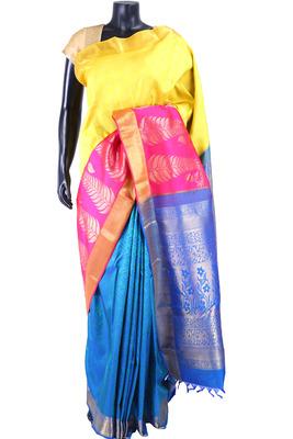 Multi colour pure silk zari weaved saree in royal blue pallu-SR5347