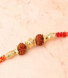 Buy Golden Beads with rudraksha-rakhi rudraksha-rakhi online
