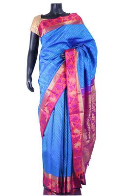 Blue pure silk weaved saree in magenta zari weaved pallu-SR5354
