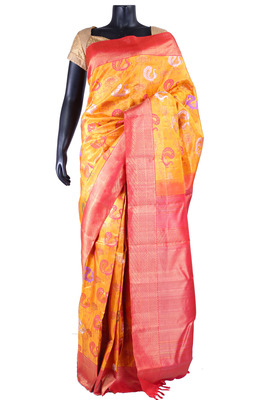 79ac33b83d Yellow pure silk zari weaved saree in pink border & pallu-SR5362 ...