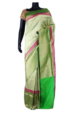 Silver banarasi silk zari weaved saree in green & pink border-SR5414