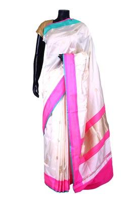 White banarasi silk zari wevaed saree in pink & blue border-SR5428