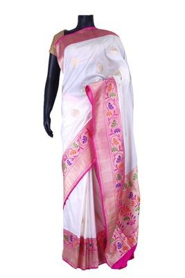 White banarasi silk zari weaved with bronze border & pallu-SR5430