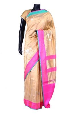 Beige banarasi silk zari weaved saree in pink & blue border-SR5434