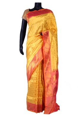 Yellow banarasi silk zari weaved saree in onion pink border & pallu-SR5439