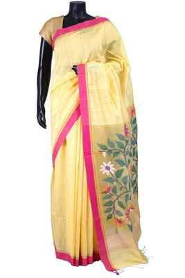 Yellow tussar fabric saree in multi colour weaved pallu & pink border-SR5447