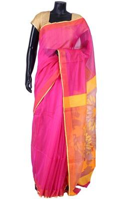 Rani pink tussar fabric saree in multi colour weaved pallu -SR5453