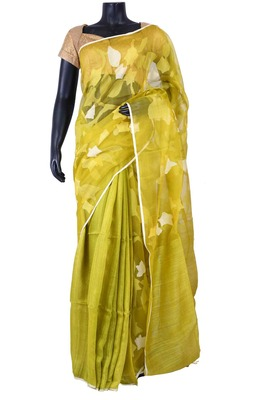 Green tussar fabric saree in weaved pallu & white blouse -SR5455