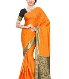 Orange gold  pure_crepe saree with blouse