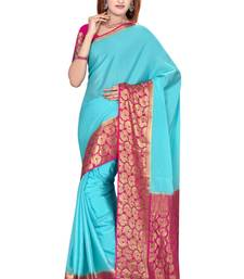 Sky blue  pure_crepe saree with blouse