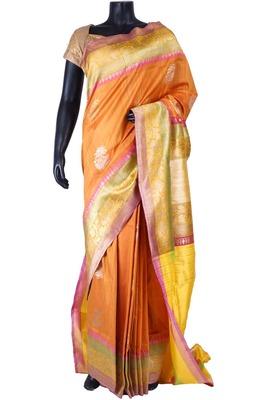 Orange tussar fabric zari weaved saree in multi colour border -SR5468