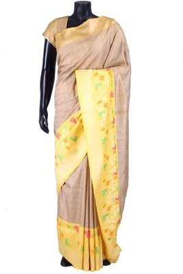 Beige tussar fabric saree in yellow blouse & border-SR5471