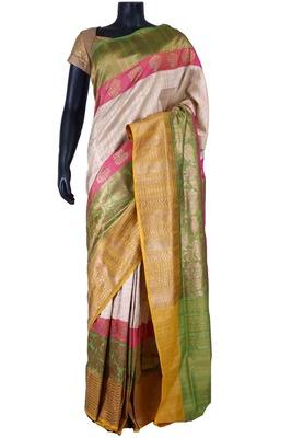 Silver tussar fabric zari weaved saree in multi colour pallu & border-SR5472
