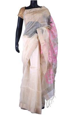 White tussar fabric weaved saree in multi colour pallu & silver border-SR5473