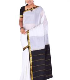 Buy Off white  pure_crepe saree with blouse crepe-saree online