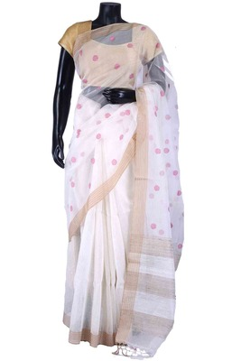 White tussar fabric weave saree in golden border & white blouse-SR5477