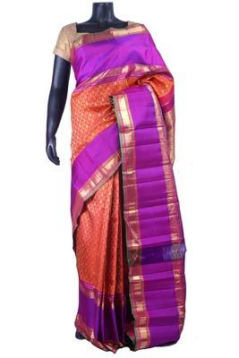 Rust pure silk zari weaved saree in purple pallu & blouse in multi colour border-SR5481