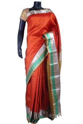 Rust pure silk weaved saree in dark mustard pallu & blouse-SR5485