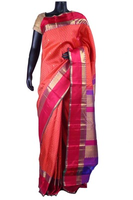 Orangish peach pure silk weaved saree in multi colour pallu-SR5486
