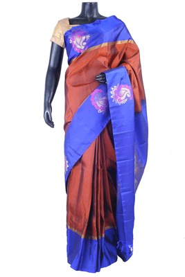 Rust pure silk plain saree with blue zari weaved pallu & blue blouse-SR5490