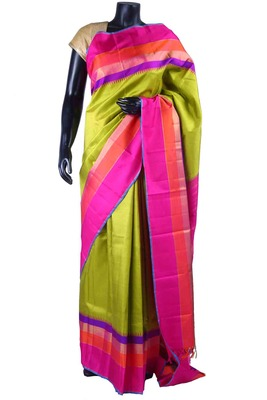 Parrot green pure silk weaved saree in pik pallu & blouse-SR5493