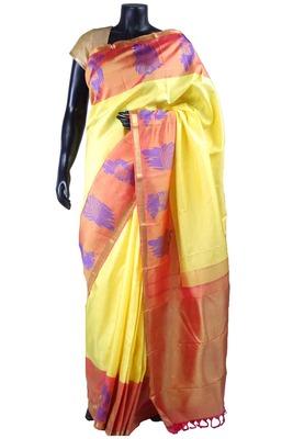 Light yellow pure silk saree in onion pink zari weaved pallu & blouse-SR5496
