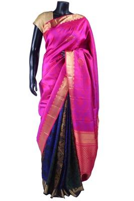 Multi colour pure silk weaved saree in rani pink pallu & purple blouse-SR5497