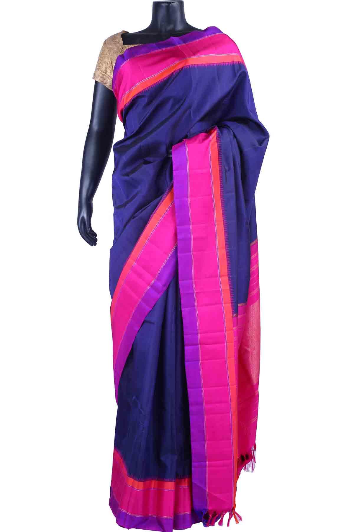 1533fdc130084d Dark blue pure silk plain saree in pink pallu   multi colour border-sr5498