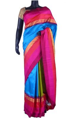 Multi colour pure silk plain saree in blue pallu & pink blouse-SR5500