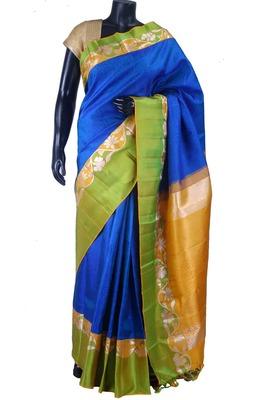 Royal blue pure silk plain saree in yellow zari weaved pallu -SR5504