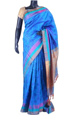 Blue pure silk weaved saree in multi colour border & blouse-SR5508