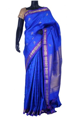 Royal blue pure silk zari weaved saree in multi colour border -SR5511